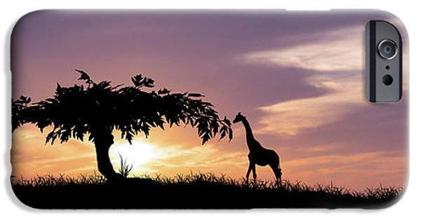 Giraffe Digital iPhone Cases - African Sunset iPhone Case by Aged Pixel