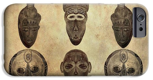 Archaeologists iPhone Cases - African Tribal Masks iPhone Case by Dan Sproul