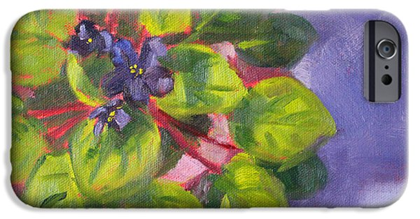 Indoor Still Life Paintings iPhone Cases - African Violet Still Life Oil Painting iPhone Case by Nancy Merkle