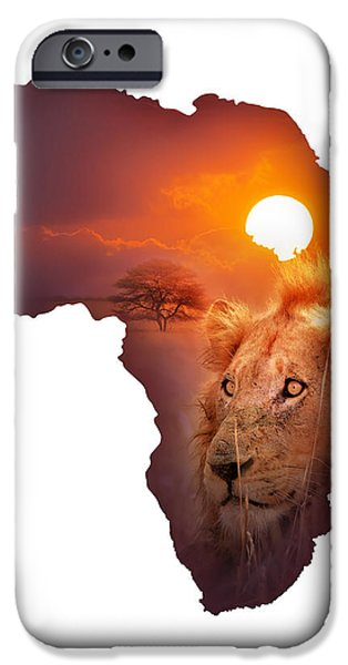 African Wildlife Map iPhone Case by Johan Swanepoel