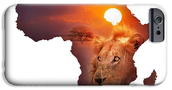 Isolated iPhone Cases - African Wildlife Map iPhone Case by Johan Swanepoel