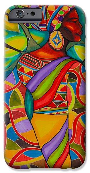 Africa Tapestries - Textiles iPhone Cases - African Woman Caye Caulker Belize iPhone Case by Lee Vanderwalker