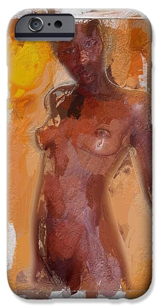 Sensual Mixed Media iPhone Cases - African Woman iPhone Case by Stefan Kuhn