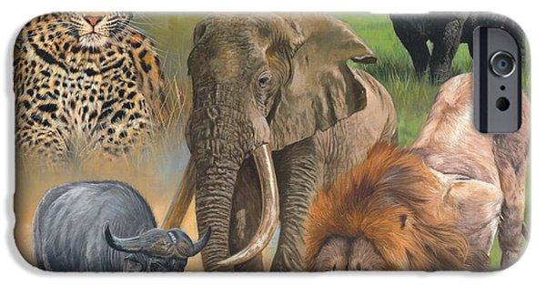 Rhinocerus iPhone Cases - Africas Big Five iPhone Case by David Stribbling