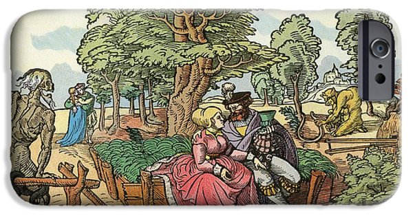 Beloved iPhone Cases - After A 16th Century Woodcut By Peter Flötner Entitled The Hazards Of Love.  Lovers In A Garden iPhone Case by Bridgeman Images