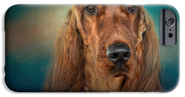 Mahogany Red iPhone Cases - After A Swim - Irish Setter - Dog Art iPhone Case by Jai Johnson