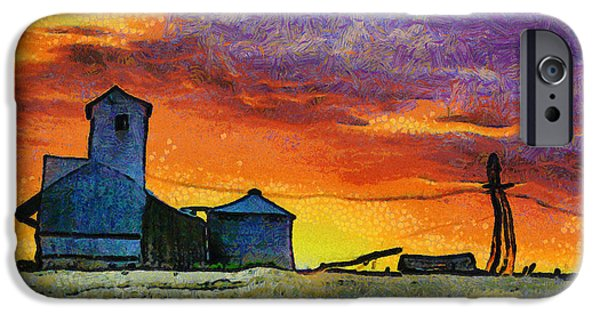 Silos iPhone Cases - After Harvest - Digital Painting iPhone Case by Mark Kiver