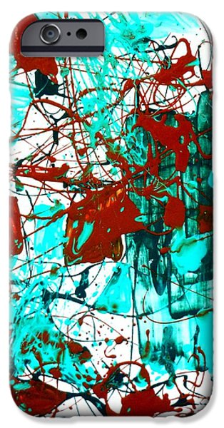 Abstract Expressionist iPhone Cases - After Pollock iPhone Case by Genevieve Esson