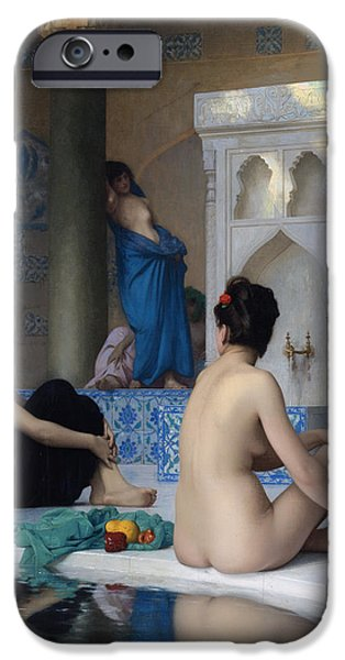 Bathing iPhone Cases - After the bath iPhone Case by Jean-Leon Gerome