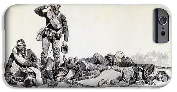 19th Century Drawings iPhone Cases - After the Battle iPhone Case by Frederic Remington