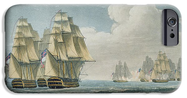 Sailing Drawings iPhone Cases - After The Battle Of Trafalgar iPhone Case by Thomas Whitcombe