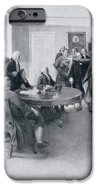 Boston iPhone Cases - After The Massacre Samuel Adams Demanding Of Governor Hutchinson The Instant Withdrawal Of British iPhone Case by Howard Pyle