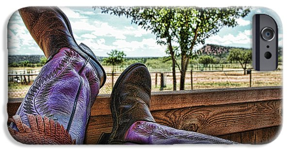 Chaps iPhone Cases - After the Ride iPhone Case by Karen Slagle