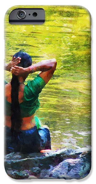 Bathing iPhone Cases - After the River Bathing. Indian Woman. Impressionism iPhone Case by Jenny Rainbow