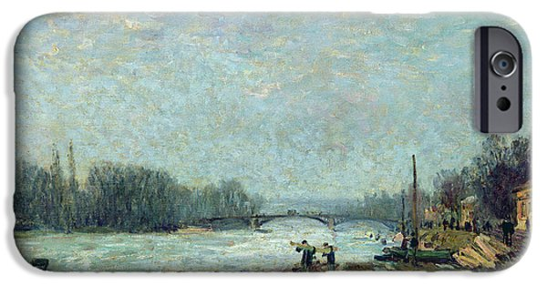 River iPhone Cases - After The Thaw, The Seine At Suresnes Bridge, 1880 Oil On Canvas iPhone Case by Alfred Sisley