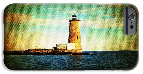 New England Lighthouse iPhone Cases - Afternoon at the Whaleback Lighthouse New Hampshire USA iPhone Case by Sabine Jacobs