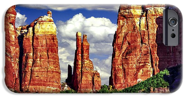 Oak Creek iPhone Cases - Afternoon Cathedral Rocks Saddle View Red Rock State Park Sedona Arizona iPhone Case by  Bob and Nadine Johnston