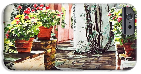 Stone Steps iPhone Cases - Afternoon Delight - Hotel Bel-air iPhone Case by David Lloyd Glover
