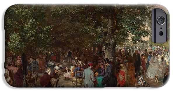 Afternoon iPhone Cases - Afternoon in the Tuileries Gardens iPhone Case by Adolph Friedrich Erdmann von Menzel
