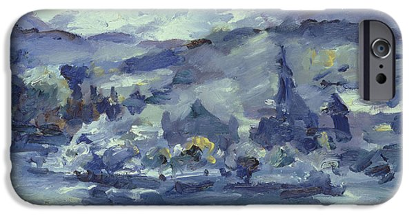 Swiss Paintings iPhone Cases - Afternoon on Lake Lucerne iPhone Case by Lovis Corinth