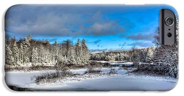 Snow Scene iPhone Cases - Afternoon Sun at the Green Bridge iPhone Case by David Patterson