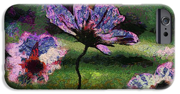 Asymmetrical iPhone Cases - Afternoon Sunshine On Purple Flowers 04 iPhone Case by Thomas Woolworth
