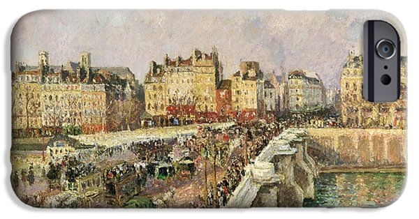 Pissarro iPhone Cases - Afternoon Sunshine. Pont Neuf iPhone Case by Camille Pissarro