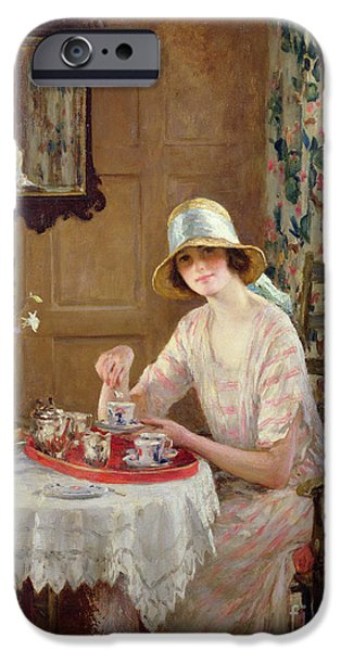 Seated iPhone Cases - Afternoon Tea iPhone Case by William Henry Margetson