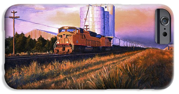 Nebraska Paintings iPhone Cases - Afternoon Train through Potter iPhone Case by Jerry McElroy