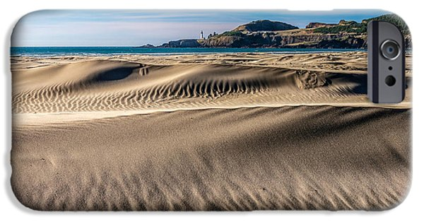 Agate Beach Oregon iPhone Cases - Agate Beach Dunes and Yaquina Head Light iPhone Case by Greg Stene