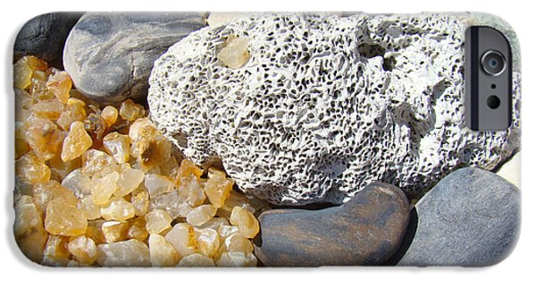 Agate Beach Oregon iPhone Cases - Agate Rock Garden Design art prints Coral Petrified Wood iPhone Case by Baslee Troutman