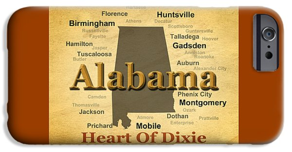 Enterprise iPhone Cases - Aged Alabama State Pride Map Silhouette  iPhone Case by Keith Webber Jr