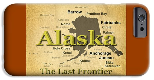 Kodiak iPhone Cases - Aged Alaska State Pride Map Silhouette  iPhone Case by Keith Webber Jr