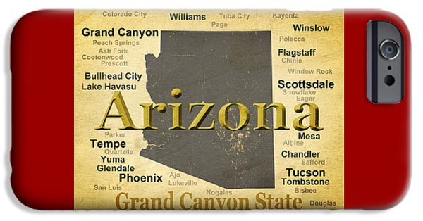 Grand Canyon Digital Art iPhone Cases - Aged Arizona State Pride Map Silhouette  iPhone Case by Keith Webber Jr