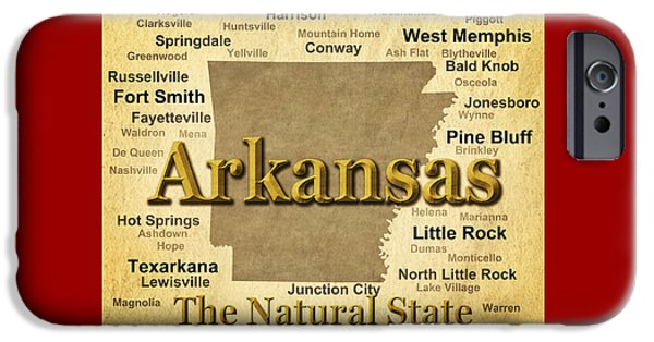 Arkansas iPhone Cases - Aged Arkansas State Pride Map Silhouette  iPhone Case by Keith Webber Jr