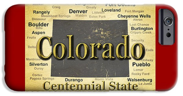 Fort Collins Digital Art iPhone Cases - Aged Colorado State Pride Map Silhouette  iPhone Case by Keith Webber Jr