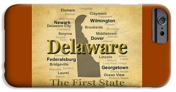Lincoln iPhone Cases - Aged Delaware State Pride Map Silhouette  iPhone Case by Keith Webber Jr