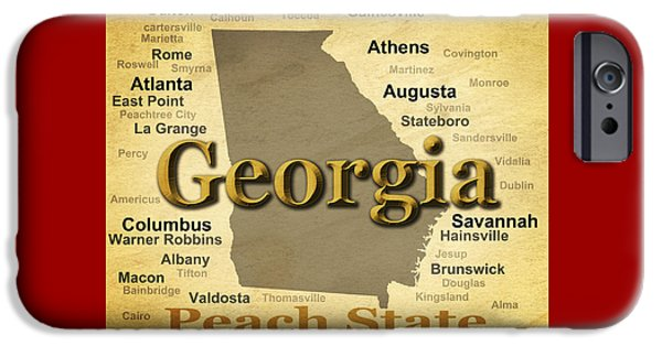 Augusta iPhone Cases - Aged Georgia State Pride Map Silhouette  iPhone Case by Keith Webber Jr