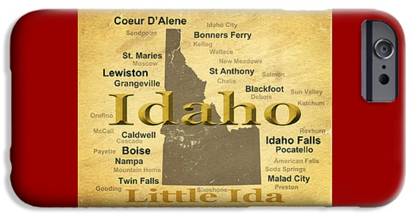 Lewiston iPhone Cases - Aged Idaho State Pride Map Silhouette  iPhone Case by Keith Webber Jr