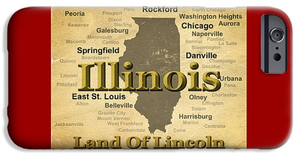 Normal iPhone Cases - Aged Illinois State Pride Map Silhouette  iPhone Case by Keith Webber Jr