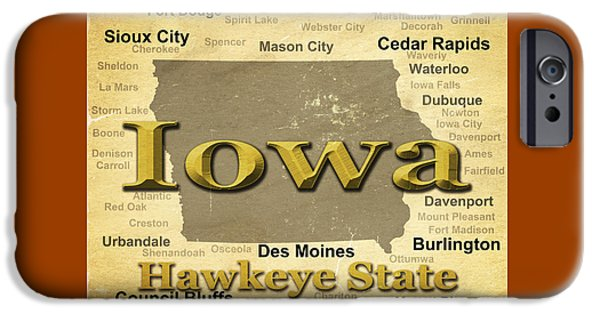 Iowa iPhone Cases - Aged Iowa State Pride Map Silhouette  iPhone Case by Keith Webber Jr