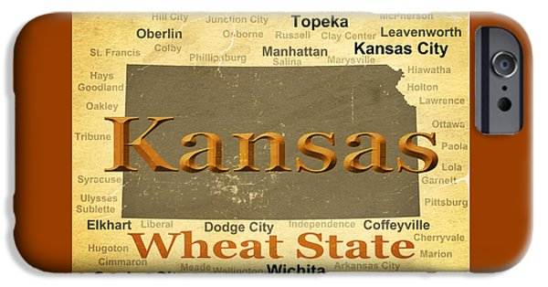 Liberal iPhone Cases - Aged Kansas State Pride Map Silhouette  iPhone Case by Keith Webber Jr
