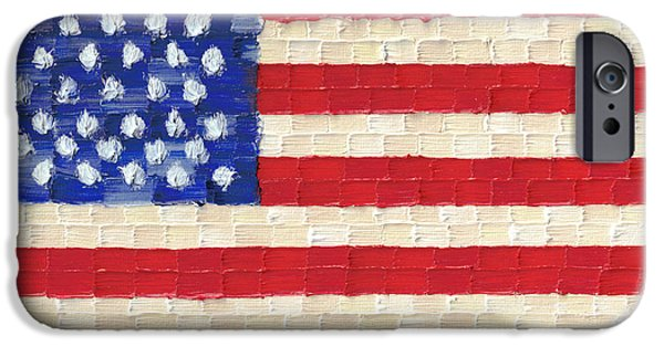 4th July Paintings iPhone Cases - American Flag iPhone Case by Jessica Foster