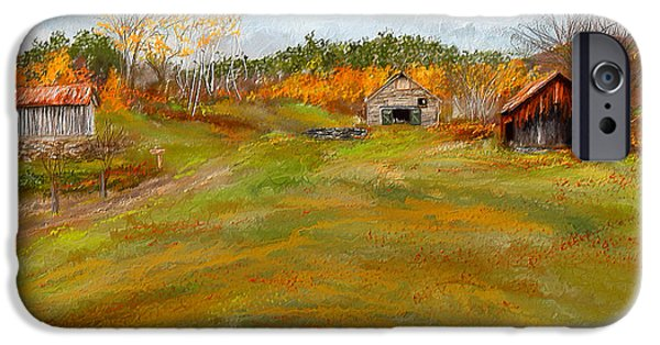 Autumn Scenes Paintings iPhone Cases - Aged With Character-Farm Life iPhone Case by Lourry Legarde