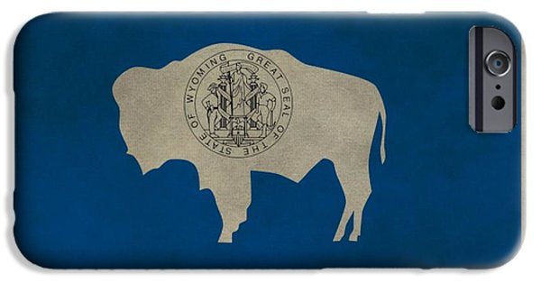 Free Mixed Media iPhone Cases - Aged Wyoming State Flag iPhone Case by Dan Sproul