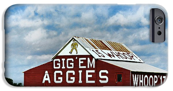 Ems iPhone Cases - Aggie Barn 3 - Gig Em iPhone Case by Stephen Stookey