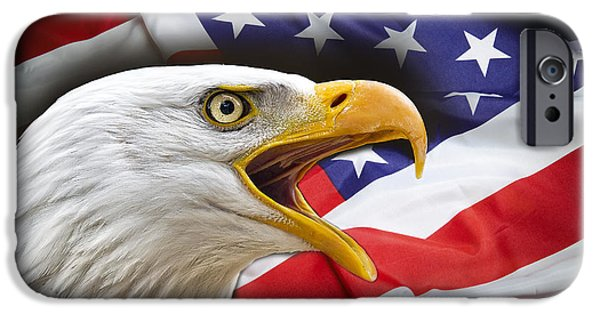 Freedom Party iPhone Cases - AGGRESSIVE EAGLE and UNITED STATES FLAG iPhone Case by Daniel Hagerman