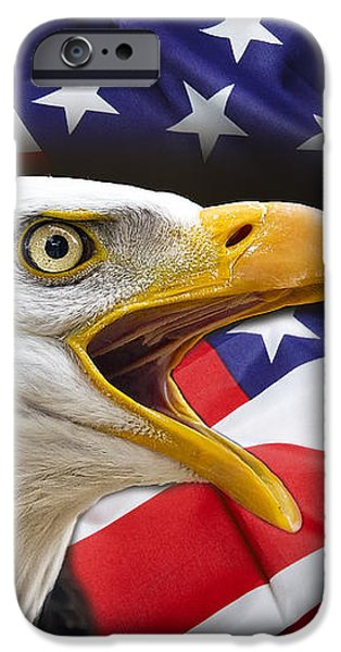AGGRESSIVE EAGLE and UNITED STATES FLAG iPhone Case by Daniel Hagerman