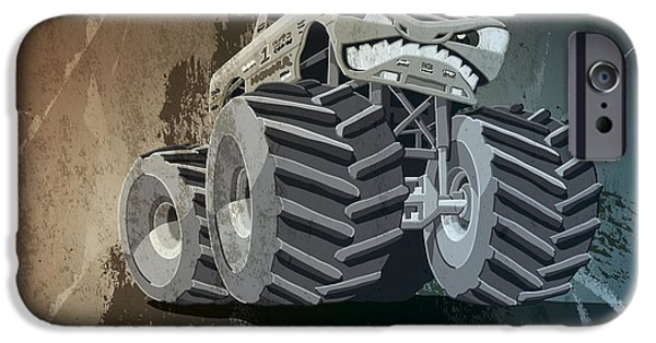 Truck iPhone Cases - Aggressive Monster Truck Grunge iPhone Case by Frank Ramspott