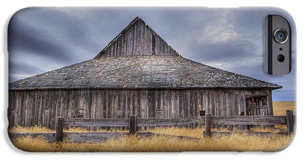 Old Barns iPhone Cases - Aging Gracefully in Wasco County iPhone Case by Jean Noren